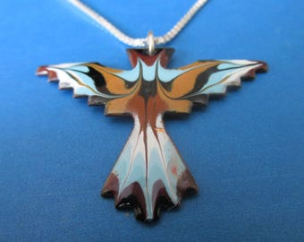 Native American Bird Symbol Necklace. Sterling silver chain.