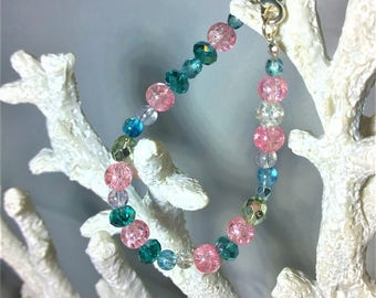 Sparkly baby blue and pink bead bracelet.