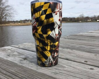 Maryland Flag Themed Hydro Dipped Double Wall Tumbler