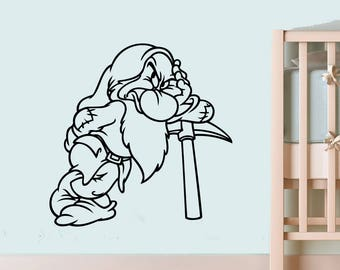 Dwarf Grumpy Wall Vinyl Sticker Walt Disney Vinyl Art Snow White and the Seven Dwarfs Wall Vinyl Decal Childs Kids Nursery Wall Image swsd7