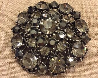 Ornate Black and Gray Rhinestone Brooch