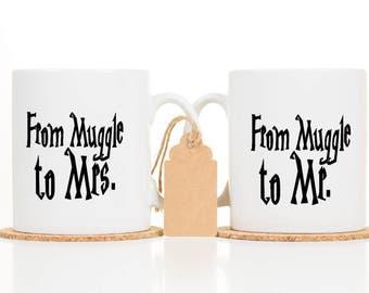 Muggle to Mrs Mug -  Newly Engaged Gift - Engagement Gift -  Muggle to Mr Mug - Harry Potter - Wedding Gift - Wedding Mug - Mr and Mrs Mug
