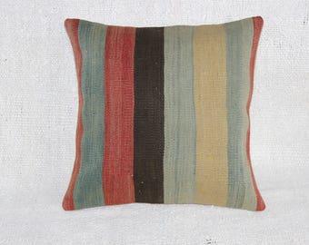 "Turkish Handmade Kilim Pillow Rustic Pillow,Vintage Pillow,16""x16""inches,40x40 cm"