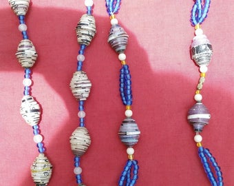 Kenyan  Paper Bead Bright Necklace