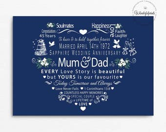 """Personalised 45th Sapphire Wedding Anniversary Print, For Mum and Dad, 1 Cor 13 8, For Couple, Love never Fails, A4 Print or 8""""x10"""" Mounted"""