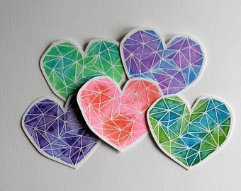 Watercolor stain glass hearts
