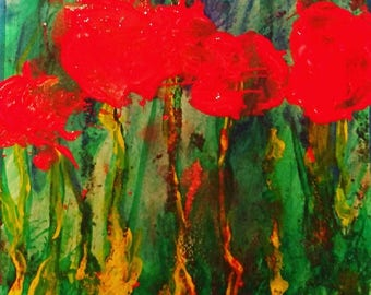 Poppy Flowers in May #2 - Original Acrylic Painting on Paper