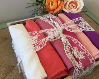 Custom bridesmaid robes set of 5, bridesmaid gifts, cotton lace robes, bridal robes, wedding gifts, getting ready robes, bridal party robes