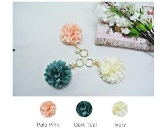 Corsare flower key chain, Key ring, Bag charm, Bag decoration