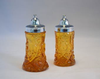 Vintage Amber Glass Salt and Pepper Shakers