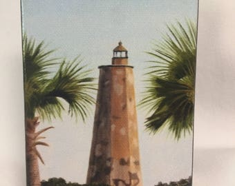 Mini Giclee print of Old Baldy Lighthouse through the palms
