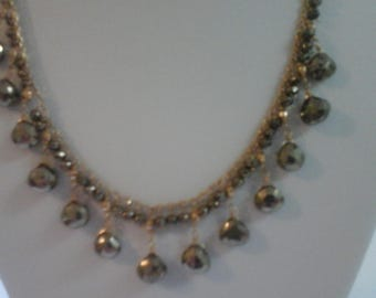 Vintage 14k y / gold pyrite necklace