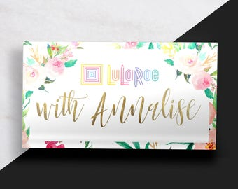 LuLaRoe Business Card // LLR Business Card // Floral and Gold Business Card // Feminine Business Card //