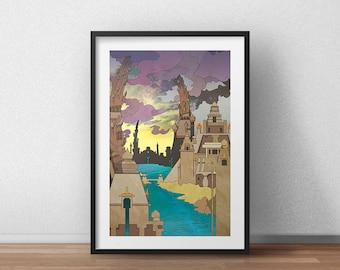 Ziggurat City - Art Print - Fantasy Landscape - Fantasy Artwork - Cityscape - Surreal Landscape - Surrealism Art - Dreamscape - Wall Art