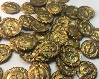 50 tiny sun brass stampings, 16 x 15mm