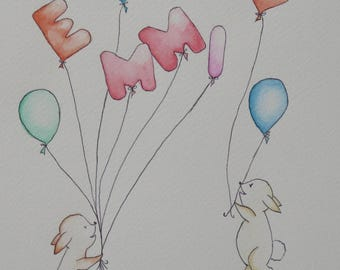 First name of balloons, watercolor, Decorations for baby and children...