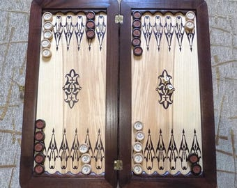 Wooden hand made backgammon game board with chips Panther new