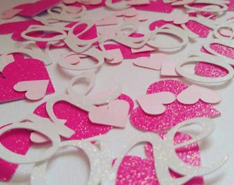 Pink confetti, 1st birthday, birthday confetti, pink and white