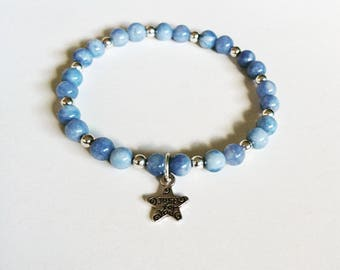 Blue Beaded Bracelet with a star charm