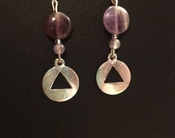 Recovery triangle amethyst dangle earrings  sober - sobriety - odaat - recovery jewelry - aa jewelry - na jewelry - 12 steps
