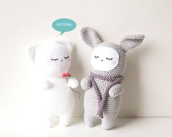 Amigurumi Bundle Cat Bunny, Crochet Amigurumi Pattern, Pattern Cat Crochet Pattern, Bunny Amigurumi Pattern, Animal Crochet Pattern PDF