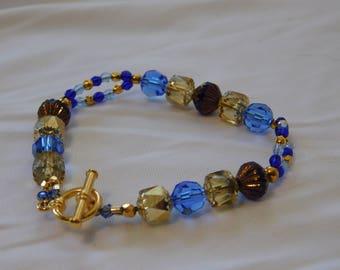 Blue & Gold Swarovski Crystal Czech Glass Beaded Bracelet