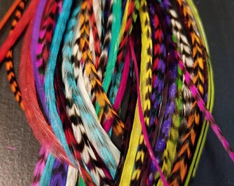 """100 XL Multi-Colored Salon Grade Feather Hair Extensions 6 - 13"""",  1 hook tool, 50 hair beads"""