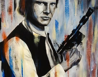 Han Solo, is acrylic paint has the original hand 24 x 32 in