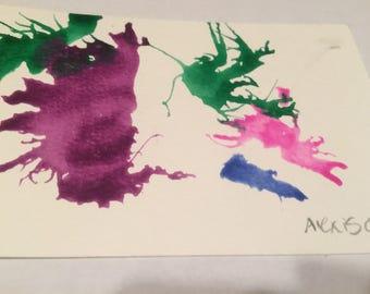 Blown Splattered Art Postcard