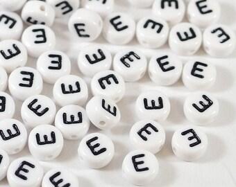 100 white letter beads *E*, alphabet beads, 7mm