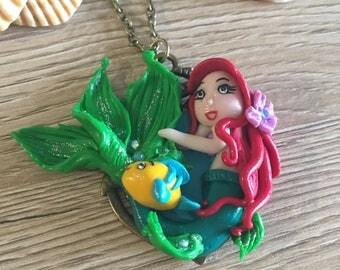Ariel Little Mermaid disney fimo, fimo, fimo necklace disney mermaid ariel flounder
