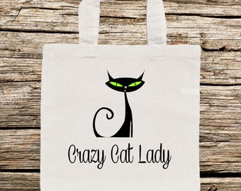 Cat Tote Bag, Crazy Cat Lady Tote Bag, Tote Bag with Cat, Funny Cat Tote Bag, Personalized Tote Bag, Tote Bag, Whimsical Tote Bag