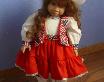 Patriotic Cowgirl Doll
