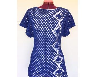Womens Crochet Tops, Beach Top, Crochet Top, Bamboo Clothing, Womens Blouse, Crochet Summer Top, Dolman Sleeves, Diamonds, Bamboo
