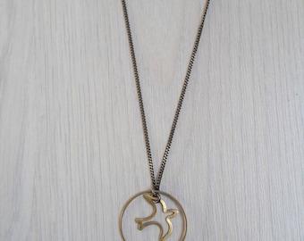 Bird and salmon pink tassel necklace