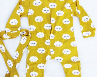 Yellow Cloud Onesie with Matching Headband