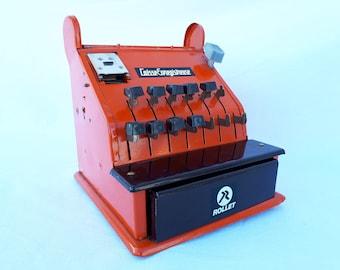 Cash register ROLLET vintage 1970 tin glazed Brown decoration till 70's orange toy metal