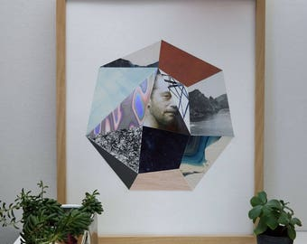 Geometric Collage Original Heptagon Face
