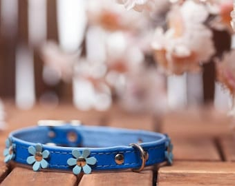 "soft feel - collar leather ""Flowers"" in 9 colors neck size 21-26 cm for very small - small dogs Blue light blue article 582"