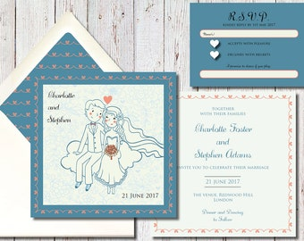 Blue and Peach Wedding Invitation With Bride and Groom Illustration