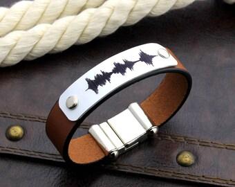 Personalized Bracelet, Leather Bracelet, Sound Waves Bracelet, Voice Recording, Keepsake Bracelet, Mementos Gift, Anniversary Gift, Men Gift