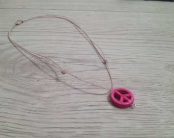 Howlite peace sign necklace/ choker