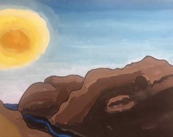 Watercolor Californian Hills