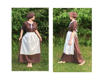 Complete Outfit - Womens Pioneer Trek Colonial Frontier Prairie Pilgrims Renaissance Reenactment Civil War Dress Costume Adult Size