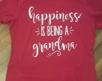 Happiness Is Being A Grandma women's tee shirt