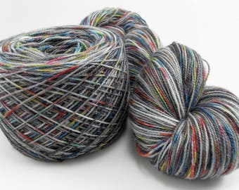 Hand dyed Sock Yarn Sparkling Silver Stormcloud Rainbow self-striping 100 gram skein handdyed hand-dyed