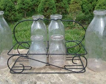 Vintage Glass Milk Bottle Six (6) Piece Set/Decorative Black Wire Display Rack/Primitive Home/Kitchen Decor/Drinking/Delivery/Used/Antique