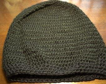 Black Crochet Slouchie Beanie