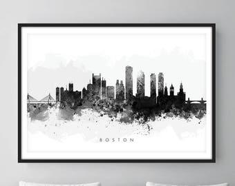 Boston Skyline, Boston Massachusetts Cityscape Art Print, Wall Art, Watercolor, Watercolour Art Decor [SWBOS05]