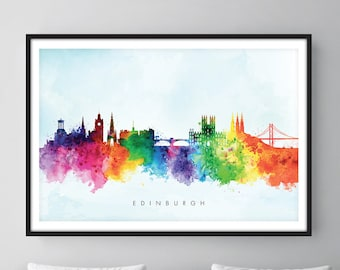 Edinburgh Skyline, Edinburgh Scotland Cityscape Art Print, Wall Art, Watercolor, Watercolour Art Decor [SWEDI03]